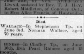 Norman Wallace- Death Notice